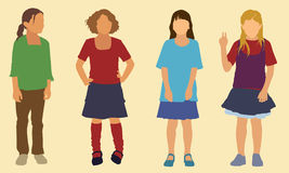 Elementary School Girls. Four girls of elementary school age vector illustration