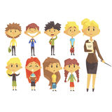 Elementary School Group Of Schoolchildren With Their Female Teacher In Suit Set Of Cartoon Characters Stock Image