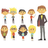 Elementary School Group Of Schoolchildren With Their Male Teacher In Suit Set Of Cartoon Characters. Primary School Class Kids Vector Stylized Illustration In royalty free illustration