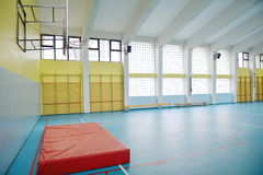 Elementary school gym indoor. /empty gym Royalty Free Stock Images