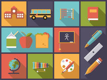 Elementary school icons vector illustration. Stock Images
