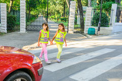 Elementary school kids  crossing the street wearing a vest with the stop sine on it Stock Photo