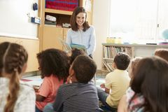 Elementary school kids listen to teacher in class, back view royalty free stock photography
