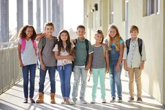 Elementary school kids stand in corridor looking at camera royalty free stock image