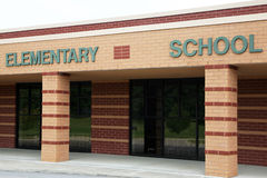 Elementary School. Newly constructed elementary school with emphasis on the sign stock photos