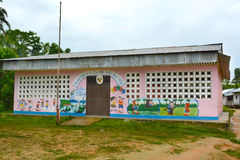 Elementary School Peru. SANTA ANA VILLAGE, PERU - OCTOBER 16, 2015: Elementary school building. Many villages in the Amazon region of Peru have their own schools stock images