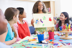 Elementary school pupil in art class Royalty Free Stock Photography