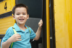 Elementary School Pupil Board Bus Stock Photo