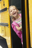 Elementary School Pupil Board Bus Royalty Free Stock Photography