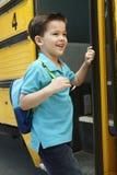 Elementary School Pupil Board Bus Royalty Free Stock Photos