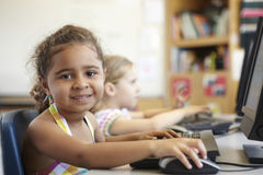 Elementary School Pupil In Computer Class Stock Photo