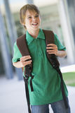 Elementary school pupil outside. With rucksack Stock Photo