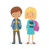 Elementary school pupils boy and girl Stock Photography
