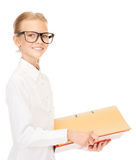 Elementary school student with folders Stock Photos