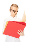 Elementary school student with folders Stock Images