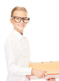 Elementary school student with folders Stock Photography