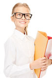 Elementary school student with folders Stock Image