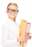 Elementary school student with folders Royalty Free Stock Photography