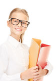 Elementary school student with folders Royalty Free Stock Photo