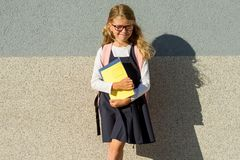 An elementary school student with notebooks in his hand. A littl. E schoolgirl with a backpack near the building in the open air Stock Image