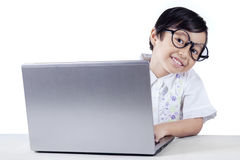 Elementary School Student Using A Laptop Royalty Free Stock Photo