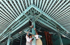 Elementary school students clean the canopy of the Great Mosque. Of Surakarta, Central Java, Indonesia, which is one of the oldest and largest mosque in Royalty Free Stock Image