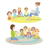 Elementary School Students Listening To the Story. Simplified Childish Cartoon Style Flat Vector Illustration vector illustration
