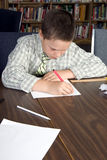 Elementary school students studying. Elementary school age boy studies in library Stock Images