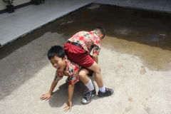 Elementary school students were playing. Elementary school students in Singkawang, West Kalimantan, Indonesia, were playing in school yard Royalty Free Stock Photo