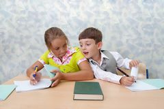 Elementary school. Test lesson Royalty Free Stock Image