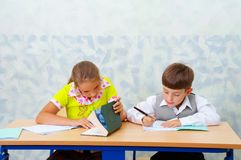 Elementary school. Testing... Royalty Free Stock Images