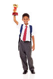 Elementary schoolboy trophy Stock Image