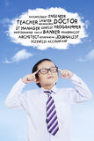Elementary student with a cloud bubble Stock Photos