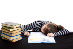 Elementary student fall a sleep. Elemantary student fall a sleep while doing math homework Royalty Free Stock Image