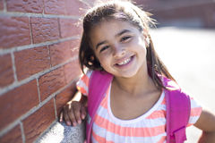 Elementary student going back to school. An elementary student going back to school Stock Image
