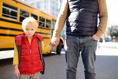 Elementary student hold hands his father near yellow school bus on background stock photography