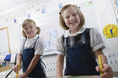 Elementary Students In Art Class Stock Images