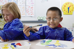 Elementary Students Painting royalty free stock image