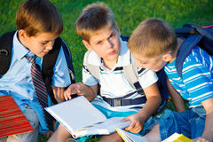 Elementary students reading Stock Photo