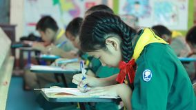 Elementary students are Test lesson stock footage