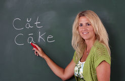 Elementary teacher at chalkboard Royalty Free Stock Photography