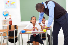 Elementary teacher student Stock Photography
