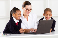 Elementary teacher teaching computer Royalty Free Stock Image