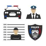 Elemente der Polizeiausrüstungsikonen Stockfotos