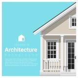 Elemente des Architekturhintergrundes mit einem kleinen Haus Stockfotografie
