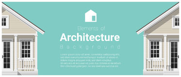 Elemente des Architekturhintergrundes mit einem kleinen Haus Stockbilder