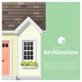 Elemente des Architekturhintergrundes mit einem kleinen Haus Stockfoto