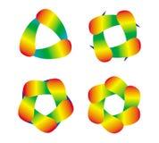 Elemente des Entwurfs Regenbogengegenstände der Rotation Helle, bunte Farben Stockfotografie