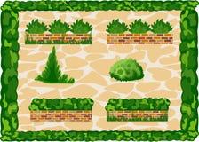 Elemente des Landschaftsdekors an den Pflastersteinen des Hintergrundes Stockbild