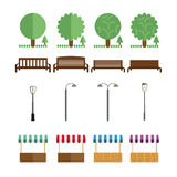 Elemente des Parks, Bänke, Lichter, Marktzelt, sollen in den verschiedenen Farben Stockfotografie